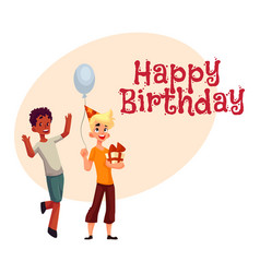 boys at birthday party black dancing caucasian vector image
