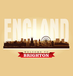 brighton united kingdom city skyline silhouette vector image