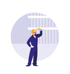 builder man with wrench avatar character vector image
