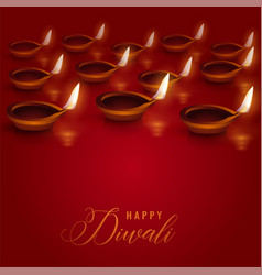 burning diya lamps placed on red background for vector image