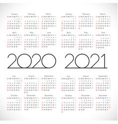 Calendar2020 2021 thin vertical vector
