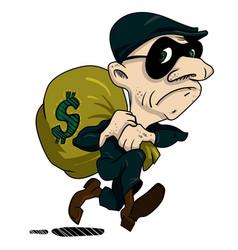 Cartoon image of burglar with loot bag vector