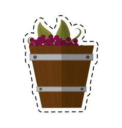 Cartoon wooden basket with harvest grapes vector