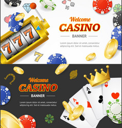 Casino banner horizontal set with realistic vector