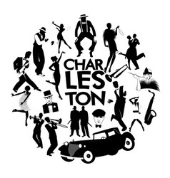 Charleston dance icons cars flapper girls vector