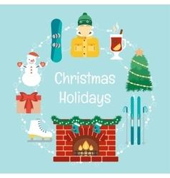 Christmas holidays Winter holidays Christmas and vector image
