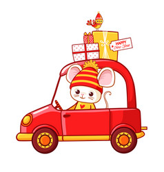 christmas with a mouse in a car that vector image