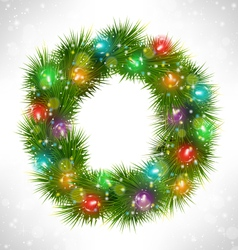 Christmas wreath with multicolored glassy led vector