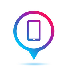 Colorful mobile phone in circle pin icon vector