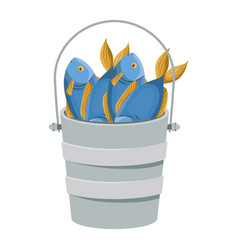 Colorful silhouette bucket full fish vector