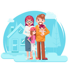 cute happy young family mother father daughter vector image