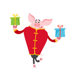 Cute pig in chinese clothes with gifts isolated on vector