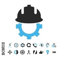 Development Helmet Flat Icon With Bonus vector