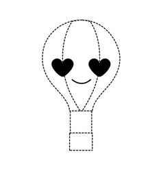 Dotted shape air balloon in love kawaii cartoon vector