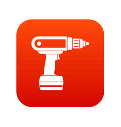 Electric screwdriver drill icon digital red vector