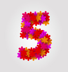 Floral numbers colorful flowers number 5 vector
