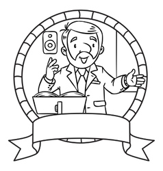 Funny university lecturer Emblem vector