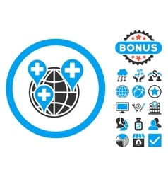 Global Clinic Company Flat Icon with Bonus vector image