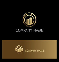 gold building town company logo vector image