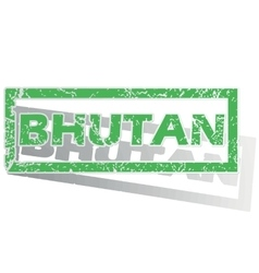 Green outlined Bhutan stamp vector