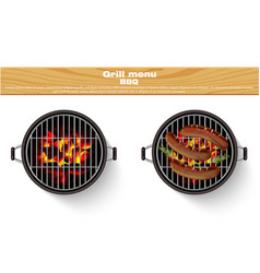 grill bbq isolated realistic hot fire bbq vector image