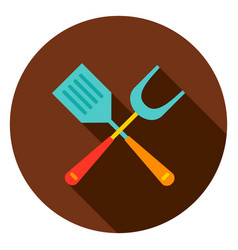 grill spatula circle icon vector image