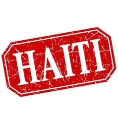 Haiti red square grunge retro style sign vector