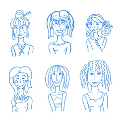 hand drawn doodle faces vector image
