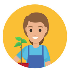 Happy gardener with plant in pot ain stylish apron vector