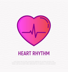 heart rhythm thin line icon modern vector image