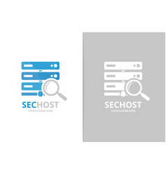 host and loupe logo combination server and vector image