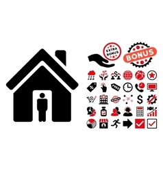House owner flat icon with bonus vector