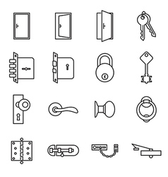 Icons related to doors and locks vector image
