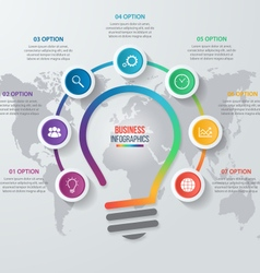 Idea light bulb circle infographic with world map vector