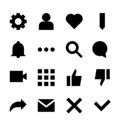 Interface glyph icons for web and mobile app vector