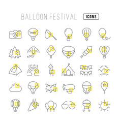 line icons balloon festival vector image