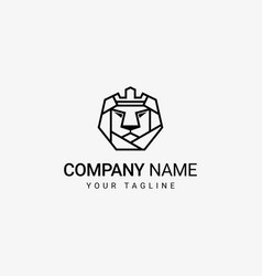 Lion crown in head logo template vector