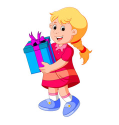 Little girl holding a gift box vector