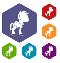little pony icons set hexagon vector image