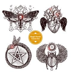 Magic Occult Tattoo Set vector