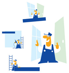 man the builder cartoon vector image