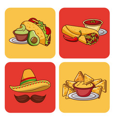 Mexican food set icons menu ingredients spicy vector
