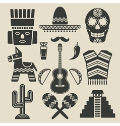 Mexico travel icons set vector