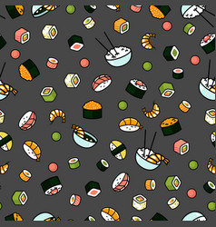 modern seamless sushi pattern vector image