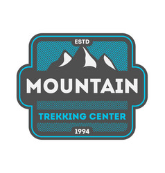 Mountain trekking center vintage isolated badge vector