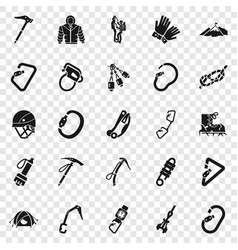 Mountaineering equipment icon set simple style vector