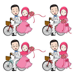 muslim wedding cartoon riding a bicycle vector image