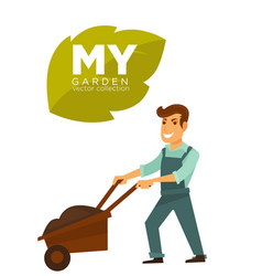 my garden collection man with garden vector image