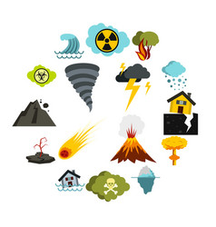 natural disaster icons set flat ctyle vector image