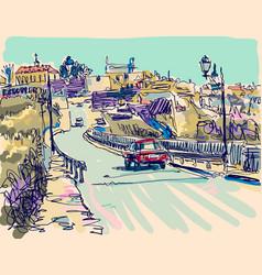 Painting kamenetz-podolsky town vector